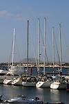 Pleasure yachts moored to jetty, Corralejo harbour,Fuerteventura,Canary Islands,Spain,