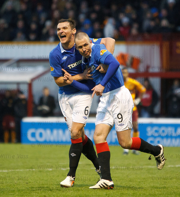 Lee McCulloch celebrates with goalscorer Kenny Miller