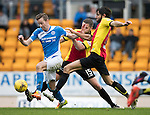 St Johnstone v Partick Thistle&hellip;29.10.16..  McDiarmid Park   SPFL<br />Steven MacLean is tackled by Adam Barton and Danny Devine<br />Picture by Graeme Hart.<br />Copyright Perthshire Picture Agency<br />Tel: 01738 623350  Mobile: 07990 594431