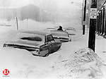 February 6, 1978: BLIZZARD OF '78-  Cars are buried under heavy snow on North Elm Street in Waterbury.  Peter C.  Adams Photo