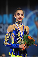 Rita Mamun of Russia smiles during group &quot;B&quot; awards ceremony at 2011 Holon Grand Prix at Holon, Israel on March 5, 2011.  (Photo by Tom Theobald).