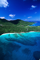 Aerial View of Hawksnest Bay<br /> showing Caneel in the distance<br /> Virgin Islands National Park<br /> St. John