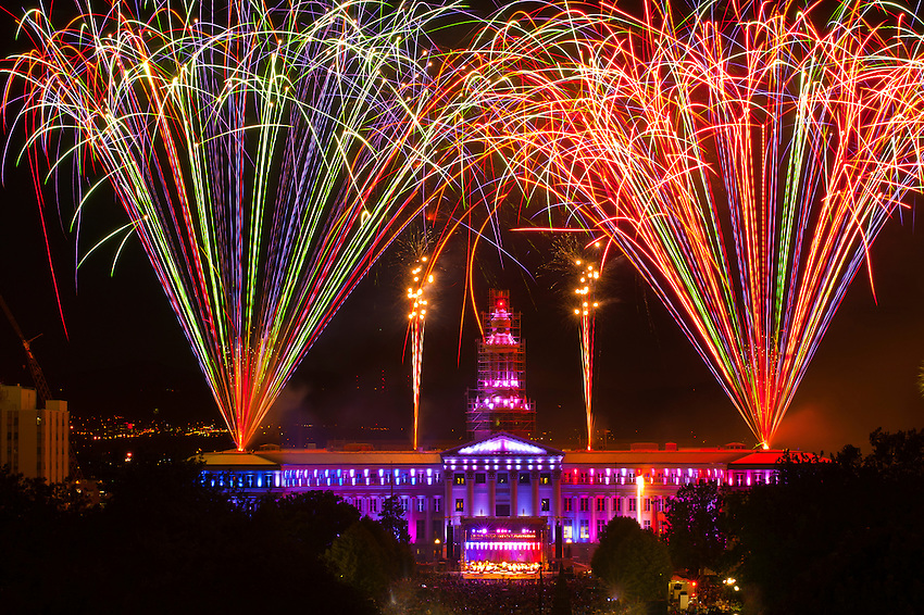 Fireworks show and the Colorado Symphony Orchestra, Independence Eve at Civic Center Park, Denver, Colorado USA