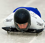 15 December 2006: Emma Lincoln-Smith from Australia, starts her run at the FIBT Women's World Cup Skeleton Competition at the Olympic Sports Complex on Mount Van Hoevenburg  in Lake Placid, New York, USA. &amp;#xA;&amp;#xA;Mandatory Photo credit: Ed Wolfstein Photo<br />