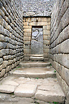 South America, Peru. Incan doorway at Machu PIcchu, a UNESCO World Heritage Site.