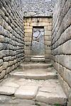 South America, Peru. Incan doorway at Machu PIcchu, a UNESCO World Heritage Site.
