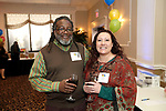 Waterbury, CT- 21 March 2017-032117CM11-  SOCIAL MOMENTS---  From left, Andre Scott of Wolcott and Deanna Krzykowski of Naugatuck during The Children's Community School Board of Directors Annual Awards Dinner at La Bella Vista in Waterbury on Tuesday.   Christopher Massa Republican-American