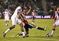 CARSON, CA – August 27, 2011: Real Salt Lake defender Chris Schuler (28) and Chivas USA forward Marcos Mondaini (23) during the match between Chivas USA and Real Salt Lake at the Home Depot Center in Carson, California. Final score Chivas USA 0, Real Salt Lake 1.