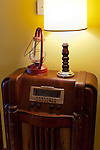 An antique radio decorates a tasting room seating area at General's Ridge Vineyards and Winery.