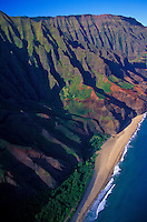 Aerial of Kalalau Beach on the Na Pali Coast