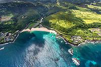 An aerial view of Waimea Bay and its beach park, North Shore, O'ahu.