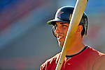9 March 2009: Houston Astros' catcher Jason Castro prepares to take batting practice prior to a Spring Training game against the Washington Nationals at Space Coast Stadium in Viera, Florida. The Nationals defeated the Astros 8-6 in extra innings of the Grapefruit League matchup. Mandatory Photo Credit: Ed Wolfstein Photo