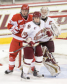 Jenn Wakefield (BU - 9), Meagan Mangene (BC - 24), Molly Schaus (BC - 30) - The Boston College Eagles defeated the Boston University Terriers 2-1 in the opening round of the Beanpot on Tuesday, February 8, 2011, at Conte Forum in Chestnut Hill, Massachusetts.