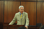 University of Mississippi Dan Jones speaks during a naturalization ceremony in federal court in Oxford, Miss. on Friday, June 29, 2012. Forty seven persons took the oath of citizenship.