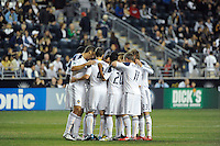 Los Angeles Galaxy players huddle before the game. The Los Angeles Galaxy defeated the Philadelphia Union  1-0 during a Major League Soccer (MLS) match at PPL Park in Chester, PA, on October 07, 2010.