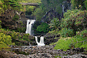 Waterfalls and bridge at Oheo pools, Kipahulu District, Haleakala National Park, Maui, Hawaii.
