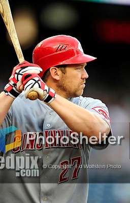 6 June 2010: Cincinnati Reds' third baseman Scott Rolen in action against the Washington Nationals at Nationals Park in Washington, DC. The Reds edged out the Nationals 5-4 in a ten inning game. Mandatory Credit: Ed Wolfstein Photo
