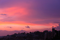 St. Andrews Scottish church and the Jerusalem skyline at sunset as seen from Yemin Moshe.