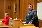 November 18, 2011; New Jersey Gov. Chris Christie delivers the keynote address during a daylong symposium, titled &ldquo;Educational Innovation and the Law&rdquo; in the Patrick F. McCartan Courtroom at the Notre Dame Law School. Photo by Barbara Johnston/University of Notre Dame.