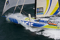 "Transat Jacques Vabre 2011. Le Havre. France.Pictures of Francios Gabart and his co skipper Sebastien Col on board ""MACIF"" during the race start today"