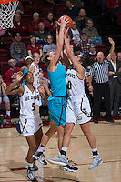 STANFORD, CA - December 4, 2016: Karlie Samuelson at Maples Pavilion. Stanford defeated UC Davis, 68-42. The Cardinal wore turquoise uniforms to honor Native American Heritage Month