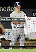 New York Yankees manager Joe Girardi (28) watches late inning action against the Baltimore Orioles at Oriole Park at Camden Yards in Baltimore, MD on Friday, August 26, 2011.  The Orioles won the game 12 - 5..Credit: Ron Sachs / CNP.(RESTRICTION: NO New York or New Jersey Newspapers or newspapers within a 75 mile radius of New York City)
