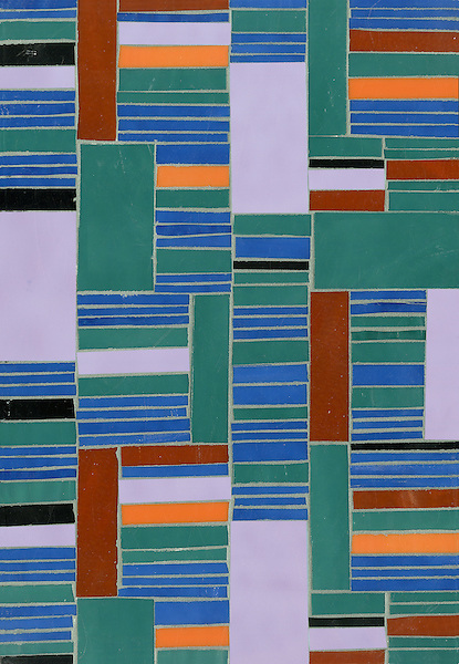 Kente, a hand cut glass mosaic shown in Athos, Juhl, Blair, Rhode, Rolly and Obsidian, is part of the Erin Adams Collection for New Ravenna Mosaics.