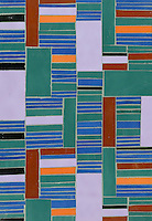 Kente, a hand-cut glass mosaic shown in Athos, Juhl, Blair, Rhode, Rolly and Obsidian, is part of the Erin Adams Collection for New Ravenna Mosaics.<br />