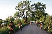 The last draft. Young Polish soldiers on the way for the exercises at the range. Bartoszyce, Poland, May 2008.(Photo by Piotr Malecki / Napo Images)<br /> Ostatni pobor.Wyjscie na poligon. Bartoszyce.5/2008<br /> Fot: Piotr Malecki / Napo Images