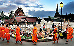 Buddhist novices and monks receiving alms at the morning market in Luang Prabang, Laos.