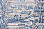Detail of the azulejos (blue and white tiles) in the Gothic Cloisters of the Old Cathedral in Coimbra, Portugal.