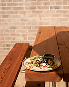 October 6, 2012. Durham, North Carolina.. The Vegan Special at the Refectory Cafe is grilled tofu, black beans, hominy, okra and avocado tacos, with radish, pumpkin seeds and fresh salsa..