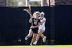 DURHAM, NC - FEBRUARY 26: Notre Dame's Hannah Proctor (left) is chased by Duke's Kyra Harney (behind). The Duke University Blue Devils hosted the University of Notre Dame Fighting Irish on February, 26, 2017, at Koskinen Stadium in Durham, NC in a Division I College Women's Lacrosse match. Notre Dame won the game 12-11.