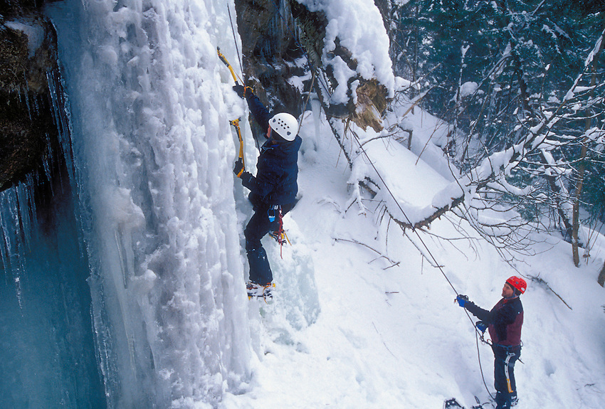 A female ice climber in Pictured Rocks National Lakeshore near Munising, Mich.