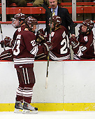 Chris Wagner (Colgate - 23), Nathan Sinz (Colgate - 24), Don Vaughan (Colgate - Head Coach), Jack McNamara (Colgate - 18) - The Harvard University Crimson defeated the visiting Colgate University Raiders 6-2 (2 EN) on Friday, January 28, 2011, at Bright Hockey Center in Cambridge, Massachusetts.
