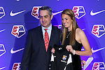 16 January 2015: Sarah Killion (UCLA), with NWSL commissioner Jeff Plush, was selected with the second overall pick by Sky Blue FC. The National Women's Soccer League Draft was held at the Pennsylvania Convention Center in Philadelphia, Pennsylvania.