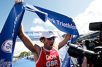Photo: Richard Lane/Richard Lane Photography. GE Strathclyde Park Triathlon. 22/05/2011. Elite Men winner, Tim Don celebrates victory.