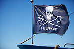 "The Sea Shepherd's flag on ""Steve Irwin' vessel in Broome port, WA"