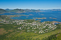 View from Steinstind mountain peak towards city of Stamsund, Vestvagoy, Lofoten islands, Norway