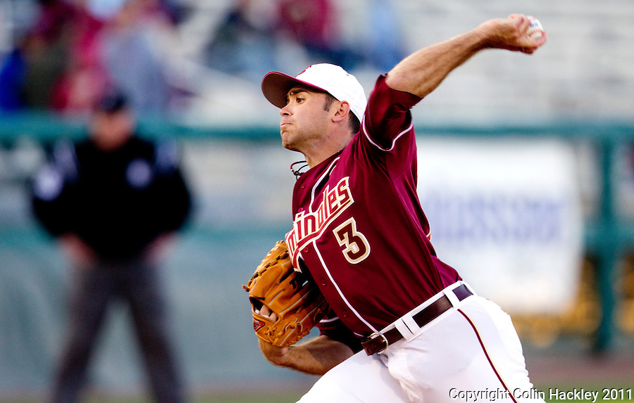 TALLAHASSEE, FL 10-FSU-B.C. BASE031111 CH-Florida State's Sean Gilmartin throws against Boston College Friday at Dick Howser Stadium in Tallahassee. Gilmartin pitched seven innings allowing a home run and a hit. The Seminoles beat the Eagles 3-1. .COLIN HACKLEY PHOTO