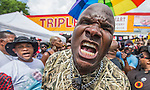 """BATON ROUGE, LA -JULY 09:  With the heat index over 100 degrees tempers have also flared as Arthur Reed, with Stop The Killing Inc, calls for Baton Rouge Mayor Kip Holden to resign within 72 hours.  """"In 72 hours we won't protest as peaceful as we have been"""" Reed said of the protests over the Alton Sterling shooting four days ago in Baton Rouge, Louisiana July 9, 2016. (Photo by Mark Wallheiser/Getty Images)"""