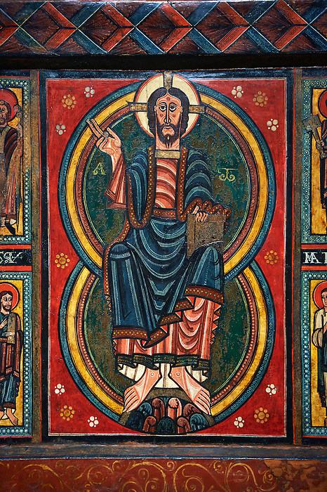 Painted wooden panel of the Altar of d'Ix showing Christ Patocrator. From the Church of Sanit Matin d'Ix, La Guinguetta d'Ix, Alta Cerdanya, Spain.  National Art Museum of Catalonia, Barcelona 1958. Ref: MNAC 15802.