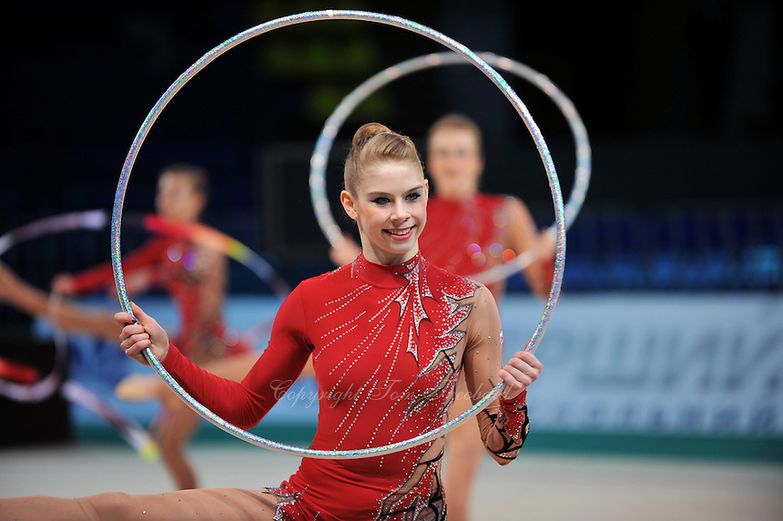 "CANADA senior group performs at 2011 World Cup Kiev, ""Deriugina Cup"" in Kiev, Ukraine on May 7, 2011.  Believe is Chelsey Titmarsh (center), wait confirmation. -T"