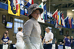 12 February 2017: UNC's Diana Philpot during Saber. The Duke University Blue Devils hosted the University of North Carolina Tar Heels at Card Gym in Durham, North Carolina in a 2017 College Women's Fencing match. Duke won the dual match 14-13 overall and 7-2 in Epee. UNC won Foil 6-3 and Saber 5-4.