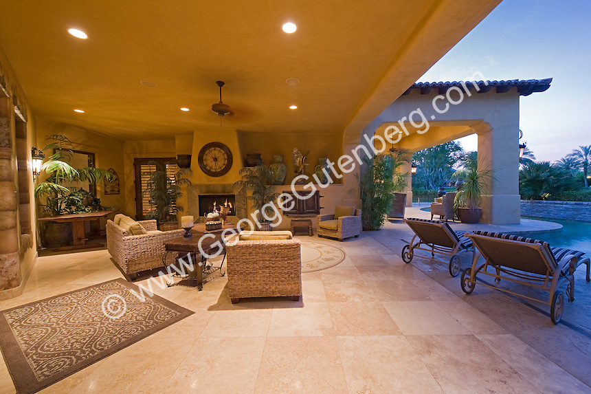 Stock Photo Of Residential Swimming Pool And Patio Stock