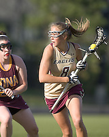 Hannah Alley (BC 8) on offense. Boston College defeated Iona College, 19-5.