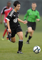 BOYDS, MARYLAND - July 21, 2012:  Diane Weigel (15) of DC United Women moves the ball up field against the Virginia Beach Piranhas during a W League Eastern Conference Championship semi final match at Maryland Soccerplex, in Boyds, Maryland on July 21. DC United Women won 3-0.