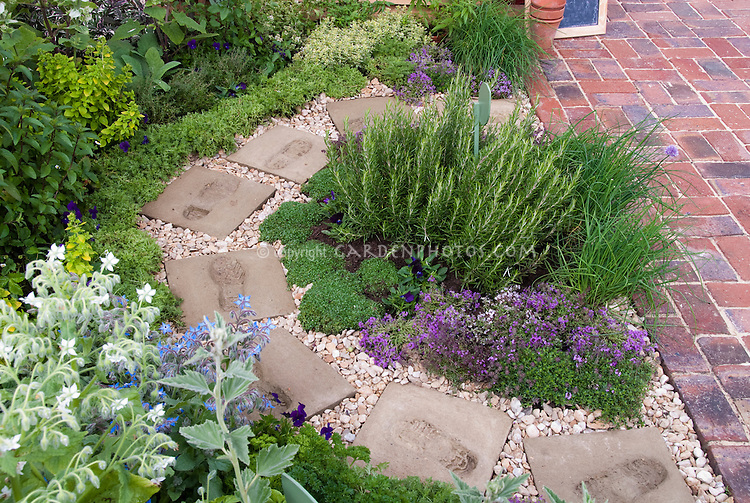 Herb Garden circular path patio Plant Flower Stock