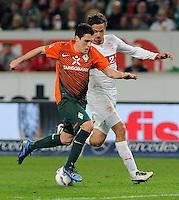 FUSSBALL  1. BUNDESLIGA  SAISON 2011/2012  31. SPIELTAG 13.04.2012 VfB Stuttgart - SV Werder Bremen Zlatko Junuzovic (li, SV Werder Bremen) gegen Martin Harnik (VfB Stuttgart)