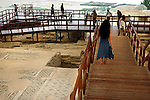Tourists visiting the House of Eustolios at The Archaeological Site of Kourion Cyprus 2007